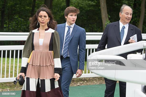 His Highness The Aga Khan Prince Aly Muhammad Aga Khan and guest attend the parade ring on June 5 2016 in Chantilly France o