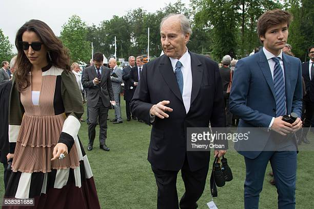 His Highness The Aga Khan Prince Aly Muhammad Aga Khan and guest attend the parade ring on June 5 2016 in Chantilly France