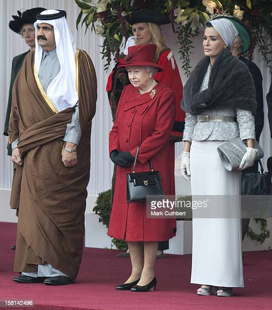 His Highness The Emir Of The State Of Qatar Sheikh Hamad Bin Khalifa AlThani And His Consort Her Highness Sheikha Mozah Bint Nasser AlMissned Receive...