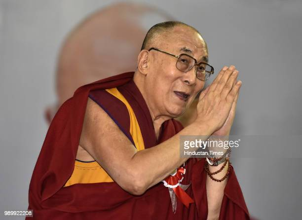 His Holiness Dalai Lama arrives for the inauguration of Happiness Curriculum of the Delhi government at Thyagraj Sports Complex on July 2 2018 in New...