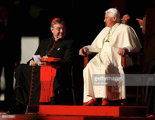 His Holiness Pope Benedict XVI and Cardinal George Pell smile at one another while thanking all the volunteers at The Domain on July 21 2008 in...