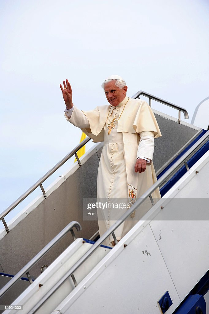 His Holiness Pope Benedict XVI waves as he arrives in Australia ahead of World Youth Day 2008 at Richmond RAAF Base on July 13, 2008 in Sydney, Australia. The Holy Father will spend the days following his arrival relaxing at the Kenthurst Study Centre Papal Retreat in the Blue Mountain region, before His official welcome on July 17. Organised every two to three years by the Catholic Church, World Youth Day (WYD) is an invitation from the Pope to the youth of the world to celebrate their faith. The celebration, being held in Sydney from July 15 to July 20, 2008, will mark the first visit of His Holiness Pope Benedict XVI to Australia.