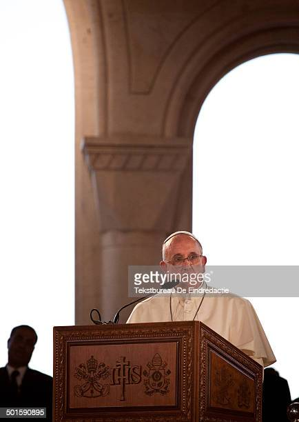 CONTENT] His Holiness Pope Francis during his speech in the new catholic church on the banks of the River Jordan near the place where Jesus was...