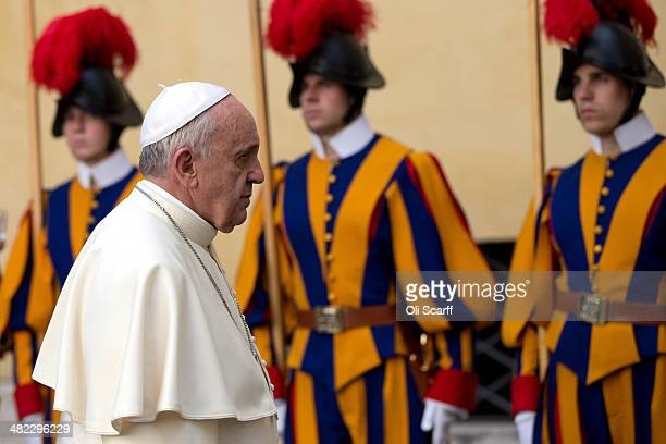 His Holiness Pope Francis leaves after hosting an audience with Her Majesty Queen Elizabeth II and Prince Philip the Duke of Edinburgh in the Pope's...