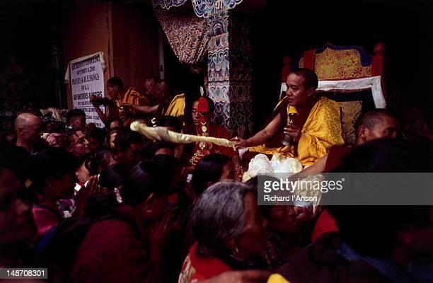 his holiness sang sang tulku blessing visitors at the mani rimdu festival at chiwang gompa (monastery). - mani rimdu festival stock pictures, royalty-free photos & images