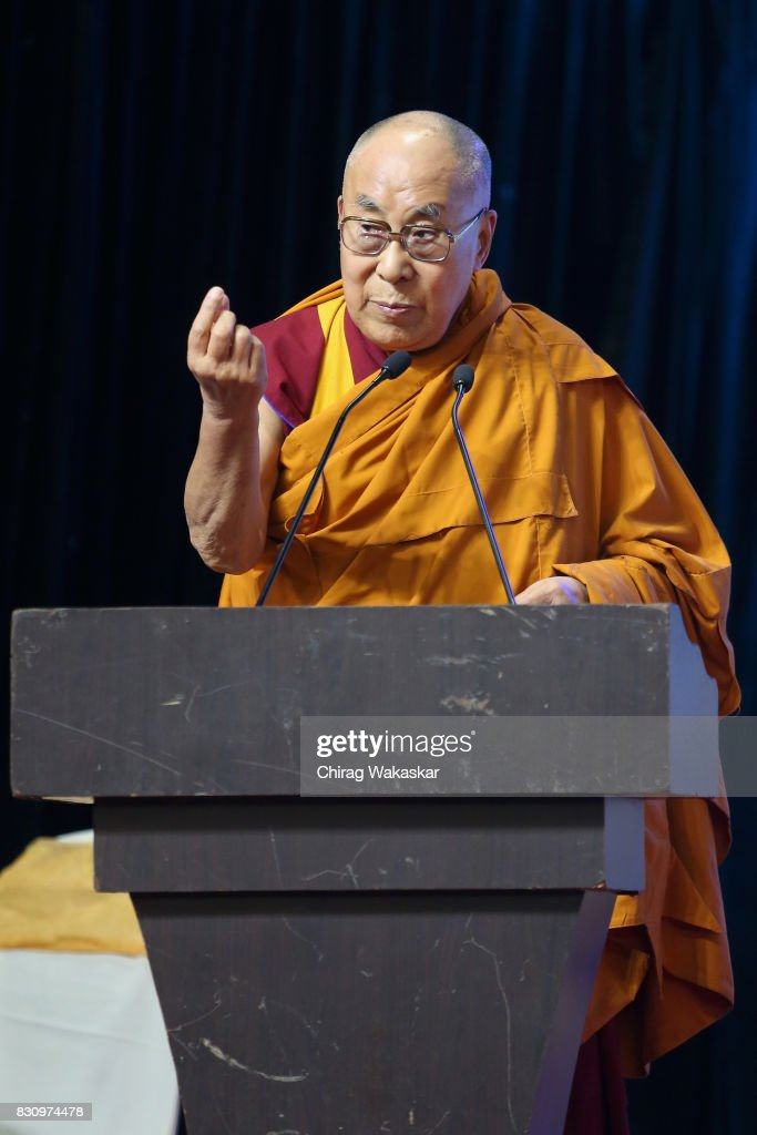 His Holiness The 14th Dalai Lama attends World Peace & Harmony Conclave at NSCI Dome on August 13, 2017 in Mumbai, India.