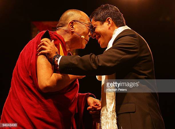 His Holiness the 14th Dalai Lama greets Robert Rakete at the Vector Arena on December 5 2009 in Auckland New Zealand His Holiness the 14th Dalai Lama...