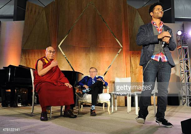 His Holiness The 14th Dalai Lama Larry King and Recording Artist Eric Benet attend The Lourdes Foundation 'Leadership in the 21st Century' Event with...