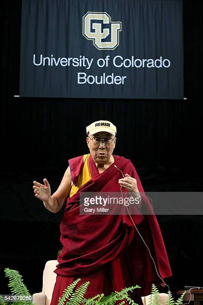 His Holiness the 14th Dalai Lama speaks during 'A Talk Educating The Heart And Mind' hosted by the Tibetan Association of Colorado at University of...