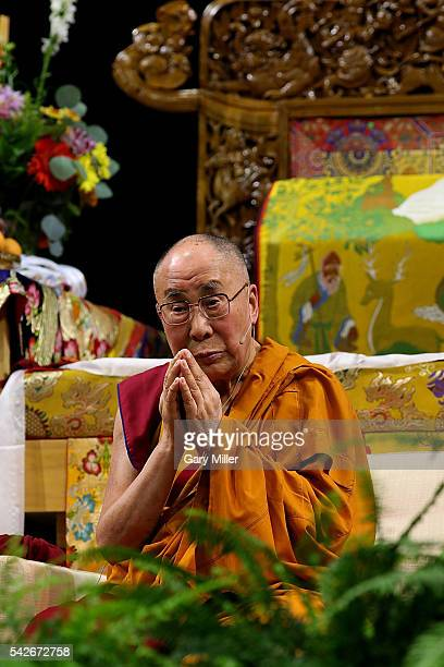 His Holiness the 14th Dalai Lama speaks during A Teaching The Eight Verses of Training the Mind hosted by the Tibetan Association of Colorado at...