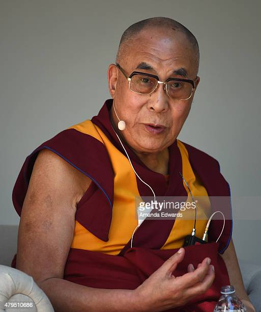 His Holiness The 14th Dalai Lama speaks onstage at the Peak Mind Foundation's celebration at Rancho Las Lomas on July 4 2015 in Silverado Canyon...