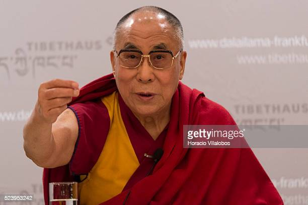 His Holiness the 14th Dalai Lama Tenzin Gyatso at a press conference in Frankfurt Germany 14 may 2014 during the second of his threedays visit to the...