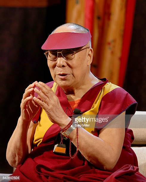 His Holiness the 14th Dalai Lama Tenzin Gyatso speaks to followers during an 'Audience To The Tibetan Community' at Boulder Theatre on June 24 2016...