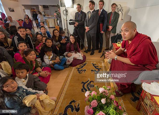 His Holiness the 17th Karmapa, Ogyen Trinley Dorje, chats with members of the Tibetan community in the Tibet House, in Frankfurt, Germany, 28 May...