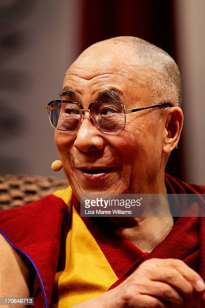 His Holiness the Dalai Lama addresses guests during a public talk on June 16 2013 at the Sydney Entertainment Centre in Sydney Australia The Dalai...