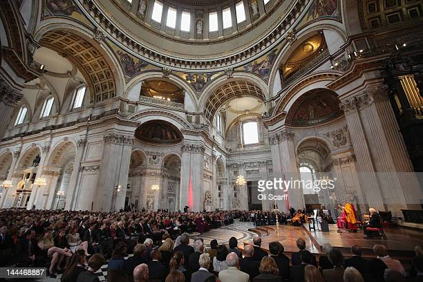 His Holiness the Dalai Lama addresses the audience in St Paul's Cathedral after receiving the 2012 Templeton Prize on May 14 2012 in London England...