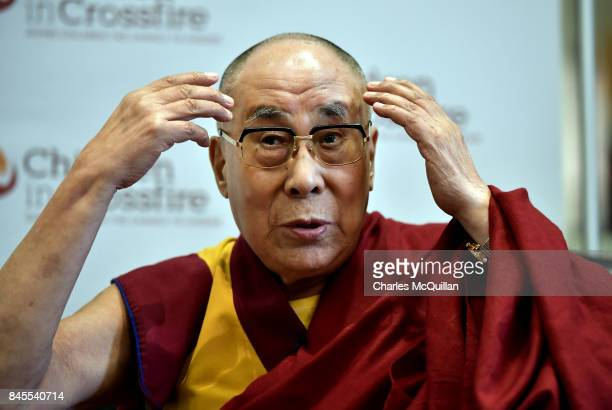 His Holiness The Dalai Lama addresses the gathered media at a Children in Crossfire press conference on September 11 2017 in Londonderry Northern...