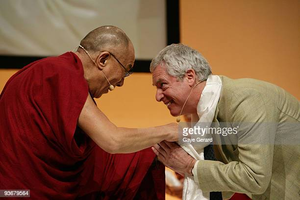 His Holiness the Dalai Lama and Dr B Alan Wallace on stage during a 'The Mind It's Potential' conference at the Sydney Convention Exhibition Centre...