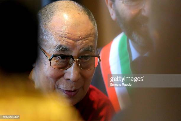 His Holiness the Dalai Lama attends the closing press conference of the 14th World Summit of Nobel Peace Laureates at Protomoteca del Campidoglio on...