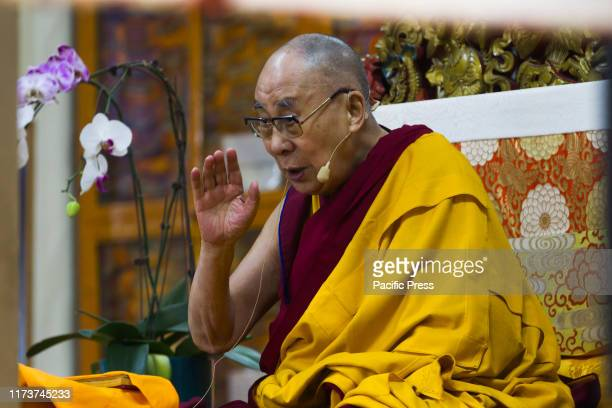 His Holiness the Dalai Lama during the teaching at Tsughla Khang Temple Mcleodganj where he will give teachings on Nagarjuna's The Precious Garland...