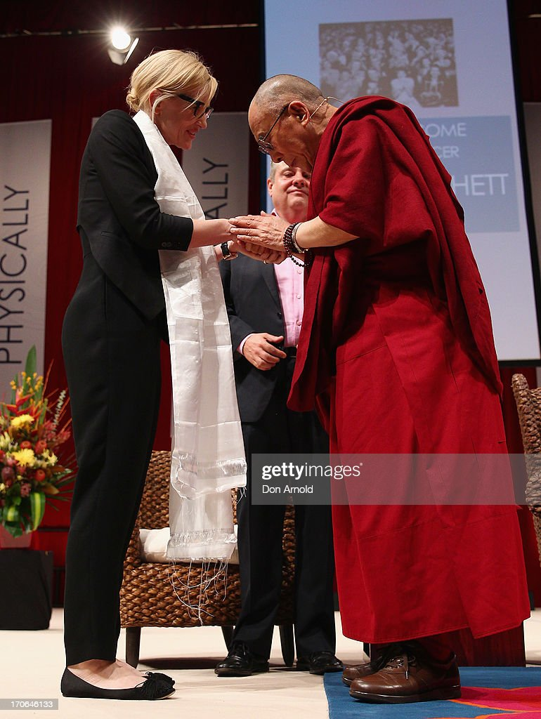 His Holiness the Dalai Lama greets Cate Blanchett on June 16, 2013 in Sydney, Australia. The Dalai Lama is in Australia for ten days, holding ticketed events for the public.