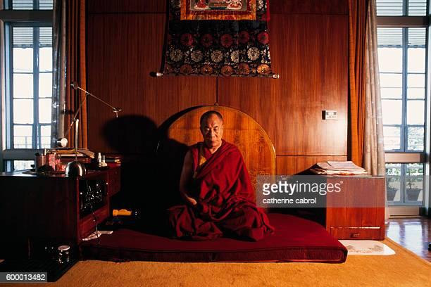 His Holiness the Dalai Lama in his home in Dharamsala India circa 1991