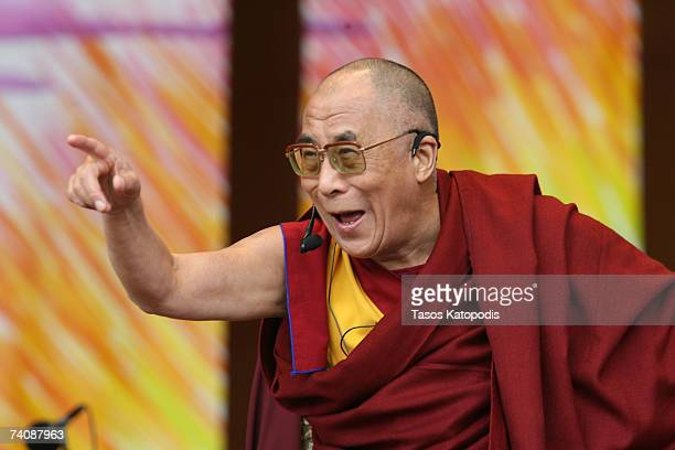 His Holiness the Dalai Lama of Tibet speaks durring his public talk called Finding Inner Peace in World Full of Turmoil Sunday May 62007 in Chicago...