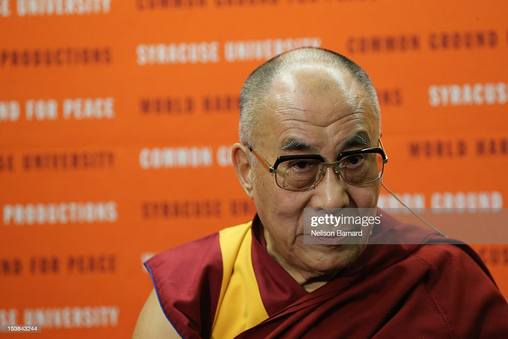 His Holiness the Dalai Lama speaks at the One World Concert at Syracuse University on October 9, 2012 in Syracuse, New York.