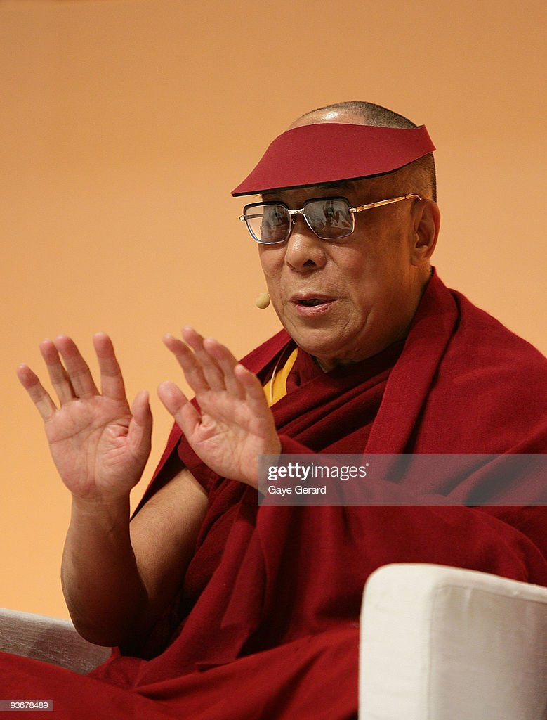 His Holiness the Dalai Lama speaks on stage during a 'The Mind & Its Potential' conference at the Sydney Convention & Exhibition Centre on December 3, 2009 in Sydney, Australia. His Holiness, the 14th Dalai Lama will present the Science of Mind forum with 40 of the world's leading scientists.