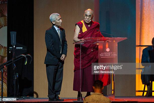 His Holiness the Dalai Lama speaks onstage during his 80th birthday celebration and Global Compassion Summit at Honda Center on July 5 2015 in...