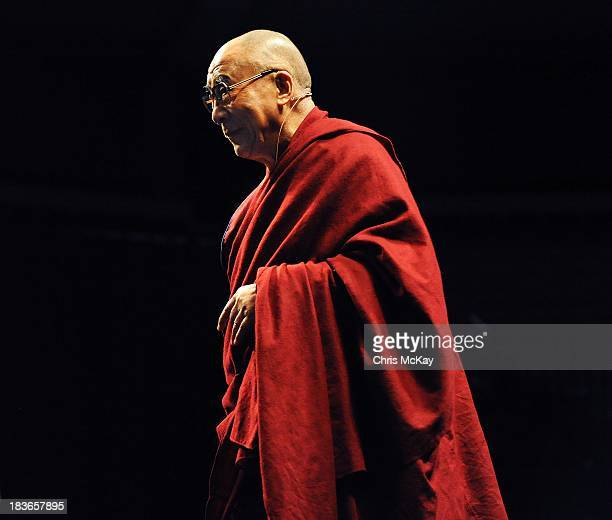 His Holiness the XIV Dalai Lama Tenzin Gyatso speaks at Gwinnett Center Arena on October 8 2013 in Duluth Georgia His Holiness gave a talk about 'The...