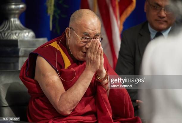 His Holiness the XIVth Dalai Lama speaks at the Starkey Hearing Foundation Center For Excellence on June 23 2017 in Eden Prairie Minnesota