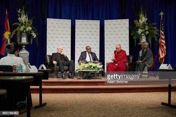 His Holiness the XIVth Dalai Lama Starkey founder Bill Austin and actor Forest Whitaker speak at the Starkey Hearing Foundation Center For Excellence...