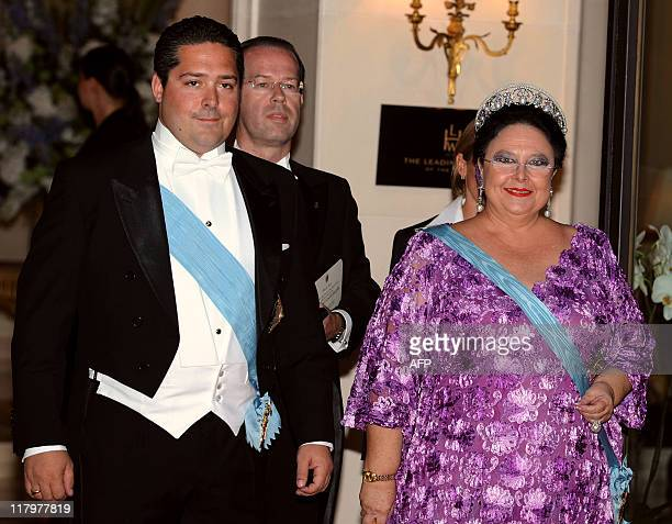 His Imperial Highness Maria Romanov Gran Duchess of Russia leave the Hermitage Hotel for a dinner after the religious wedding of Prince Albert II of...