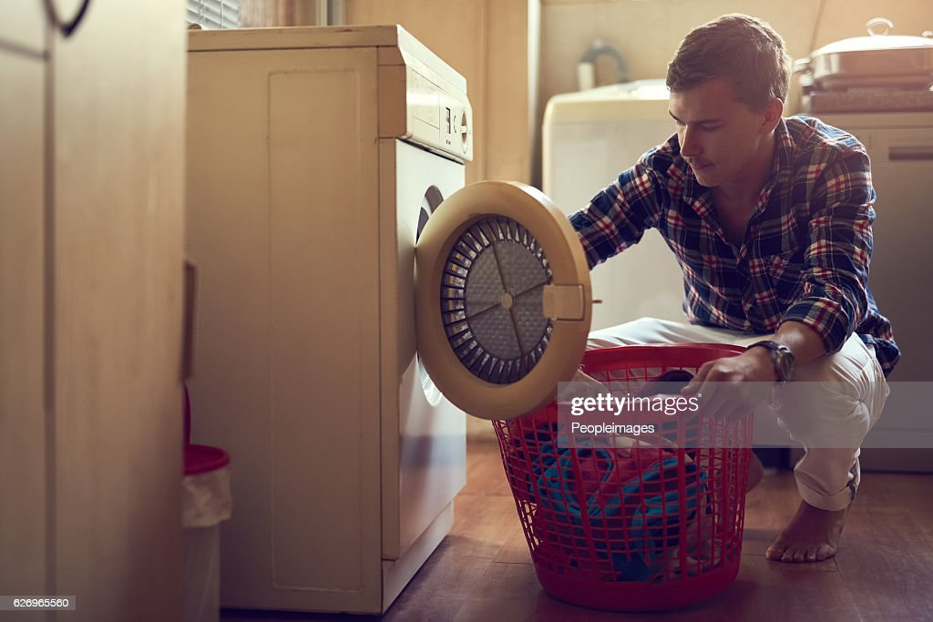 His laundry game is strong : Stock Photo