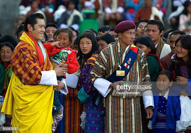 His Majesty Jigme Khesar Namgyel Wangchuck greets his people at the ceremonial grounds of The Tendrey Thang on November 6 2008 in Thimphu Bhutan The...