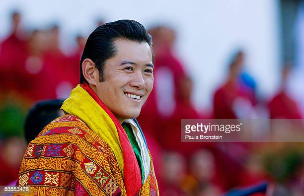 His Majesty Jigme Khesar Namgyel Wangchuck smiles during his coronation held at the ceremonial grounds of The Tendrey Thang on November 6 2008 in...