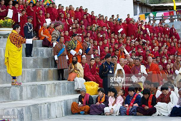 His Majesty Jigme Khesar Namgyel Wangchuck speaks to his people at the ceremonial grounds of The Tendrey Thang on November 6 2008 in Thimphu Bhutan...