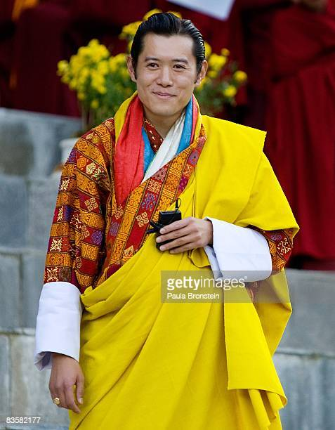 His Majesty Jigme Khesar Namgyel Wangchuck speaks to his people during his coronation held at the ceremonial grounds of The Tendrey Thang on November...