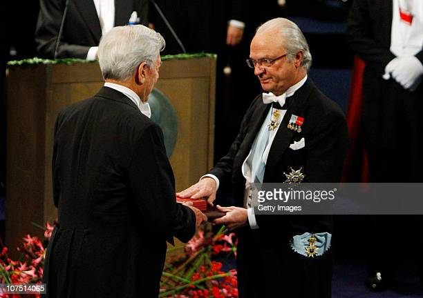 His Majesty King Carl XVI Gustaf of Sweden awards the Nobel Prize in Literature to Mario Vargas Llosa of Peru during the annual Nobel Prize Award...