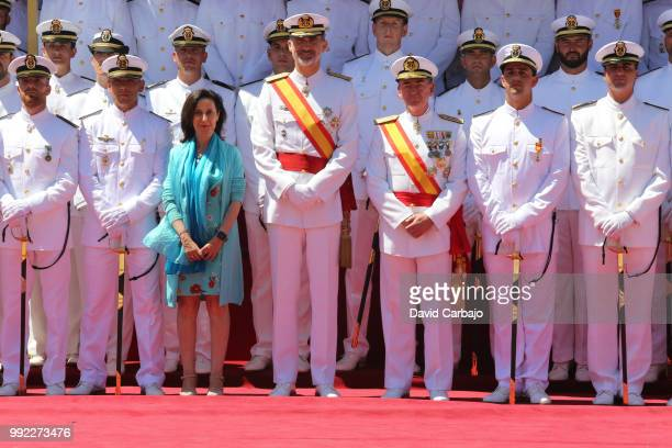 His Majesty King Felipe V attends the delivery of employment offices to the students of NCO School of the Spanish Navy on July 5 2018 in Cadiz Spain