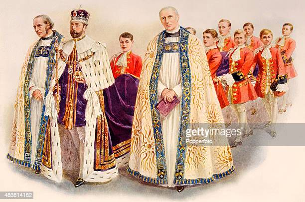 His Majesty King George V at his Coronation in Westminster Abbey London attended by Handley Moule The Bishop of Durham and George Kennion The Bishop...
