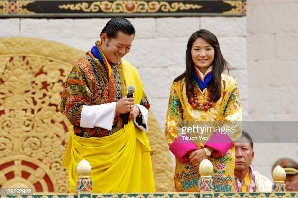 His Majesty King Jigme Khesar Namgyel Wangchuck and at Her Majesty Queen Ashi Jetsun Pema Wangchuck address the well wishers at the Chang Lime Thang...