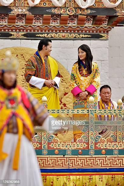 His Majesty, King Jigme Khesar Namgyel Wangchuck and at Her Majesty Queen Ashi Jetsun Pema Wangchuck watch the Bji-bi Pawois performance at the Chang...