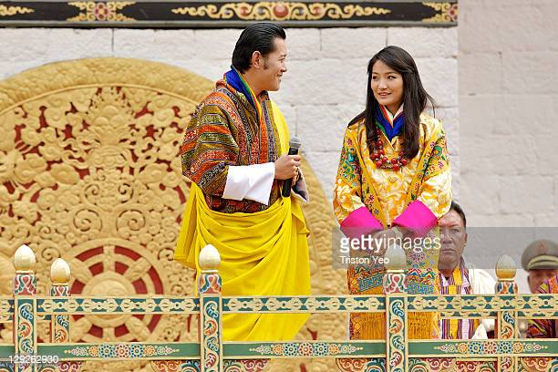 His Majesty King Jigme Khesar Namgyel Wangchuck steals a glance at Her Majesty Queen Ashi Jetsun Pema Wangchuck while addressing the turnout at the...
