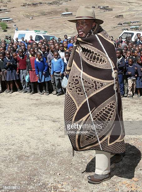 His Majesty King Letsie III of Lesotho arrives at the opening ceremony of the new Sentebale Mateanong Herd Boy School on October 14, 2013 in...