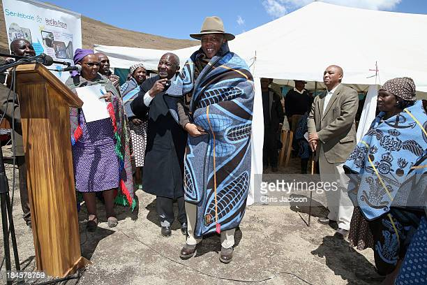 His Majesty King Letsie III of Lesotho gives a speech at the opening ceremony of the new Sentebale Mateanong Herd Boy School on October 14, 2013 in...