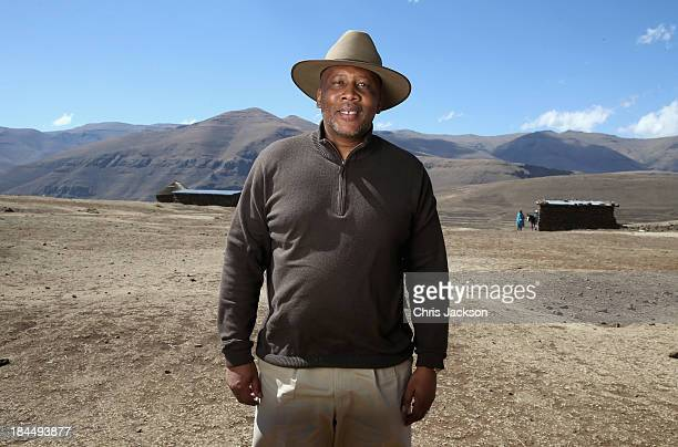 His Majesty King Letsie III of Lesotho poses for a portrait at the opening ceremony of the new Sentebale Mateanong Herd Boy School on October 14,...