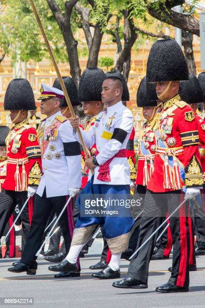His Majesty King Maha Vajiralongkorn Bodindradebayavarangkun of Thailand participates at the ceremony for moving the royal relics and royal funeral...