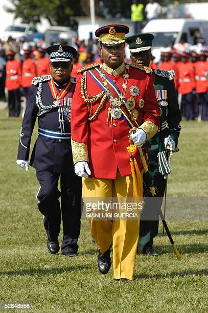 His Majesty King Mswati III King of Swaziland arrives 19 April 2005 to Manzini Stadium for the Celebration of his 37th Birthday to Manzini Stadium...